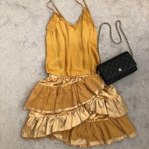Golden ruffles mini dress NWOT Small